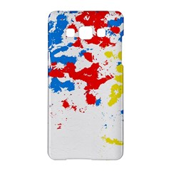 Paint Splatter Digitally Created Blue Red And Yellow Splattering Of Paint On A White Background Samsung Galaxy A5 Hardshell Case  by Nexatart