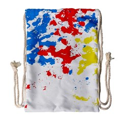 Paint Splatter Digitally Created Blue Red And Yellow Splattering Of Paint On A White Background Drawstring Bag (large) by Nexatart