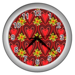 Digitally Created Seamless Love Heart Pattern Wall Clocks (silver)  by Nexatart