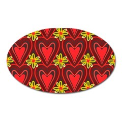 Digitally Created Seamless Love Heart Pattern Oval Magnet
