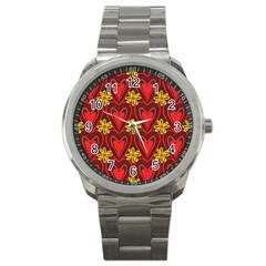 Digitally Created Seamless Love Heart Pattern Sport Metal Watch by Nexatart