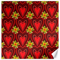 Digitally Created Seamless Love Heart Pattern Canvas 12  X 12   by Nexatart