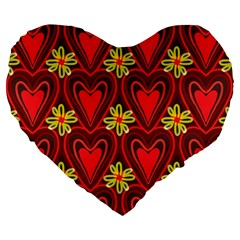 Digitally Created Seamless Love Heart Pattern Large 19  Premium Flano Heart Shape Cushions by Nexatart