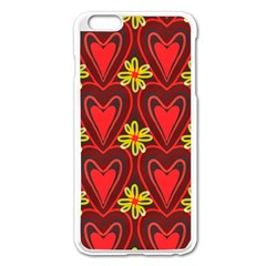Digitally Created Seamless Love Heart Pattern Apple Iphone 6 Plus/6s Plus Enamel White Case
