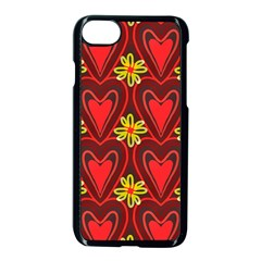 Digitally Created Seamless Love Heart Pattern Apple Iphone 7 Seamless Case (black)