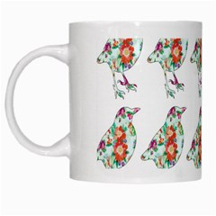 Floral Birds Wallpaper Pattern On White Background White Mugs by Nexatart
