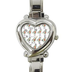 Floral Birds Wallpaper Pattern On White Background Heart Italian Charm Watch by Nexatart