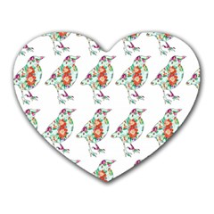 Floral Birds Wallpaper Pattern On White Background Heart Mousepads by Nexatart
