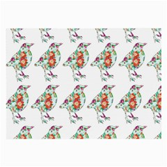 Floral Birds Wallpaper Pattern On White Background Large Glasses Cloth