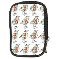 Floral Birds Wallpaper Pattern On White Background Compact Camera Cases by Nexatart