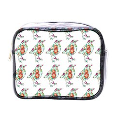 Floral Birds Wallpaper Pattern On White Background Mini Toiletries Bags by Nexatart