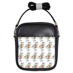 Floral Birds Wallpaper Pattern On White Background Girls Sling Bags by Nexatart