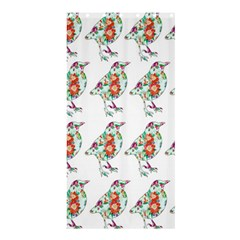 Floral Birds Wallpaper Pattern On White Background Shower Curtain 36  X 72  (stall)  by Nexatart