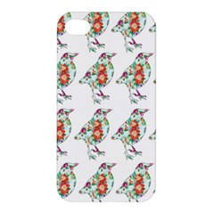 Floral Birds Wallpaper Pattern On White Background Apple Iphone 4/4s Premium Hardshell Case