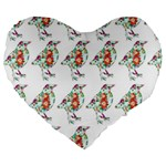 Floral Birds Wallpaper Pattern On White Background Large 19  Premium Flano Heart Shape Cushions Front