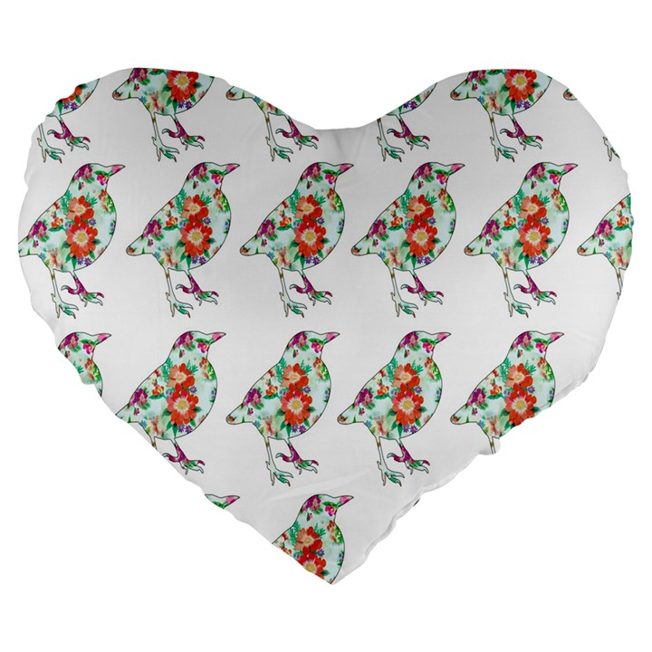 Floral Birds Wallpaper Pattern On White Background Large 19  Premium Flano Heart Shape Cushions