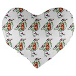 Floral Birds Wallpaper Pattern On White Background Large 19  Premium Flano Heart Shape Cushions Back