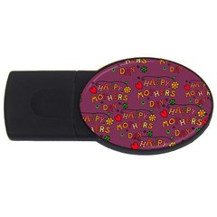 Happy Mothers Day Text Tiling Pattern Usb Flash Drive Oval (4 Gb) by Nexatart