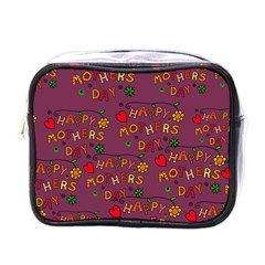 Happy Mothers Day Text Tiling Pattern Mini Toiletries Bags by Nexatart