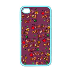 Happy Mothers Day Text Tiling Pattern Apple Iphone 4 Case (color)