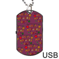 Happy Mothers Day Text Tiling Pattern Dog Tag Usb Flash (one Side) by Nexatart