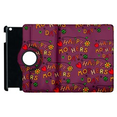 Happy Mothers Day Text Tiling Pattern Apple Ipad 2 Flip 360 Case by Nexatart