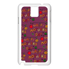 Happy Mothers Day Text Tiling Pattern Samsung Galaxy Note 3 N9005 Case (white) by Nexatart