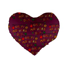 Happy Mothers Day Text Tiling Pattern Standard 16  Premium Flano Heart Shape Cushions