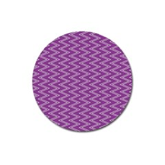 Purple Zig Zag Pattern Background Wallpaper Magnet 3  (round) by Nexatart