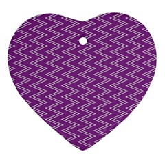 Purple Zig Zag Pattern Background Wallpaper Heart Ornament (two Sides) by Nexatart