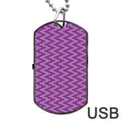 Purple Zig Zag Pattern Background Wallpaper Dog Tag Usb Flash (two Sides) by Nexatart