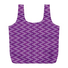 Purple Zig Zag Pattern Background Wallpaper Full Print Recycle Bags (l)