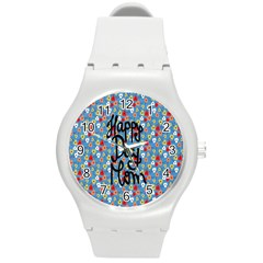 Happy Mothers Day Celebration Round Plastic Sport Watch (m) by Nexatart