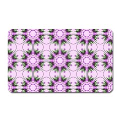 Pretty Pink Floral Purple Seamless Wallpaper Background Magnet (rectangular) by Nexatart