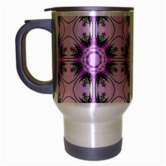 Pretty Pink Floral Purple Seamless Wallpaper Background Travel Mug (silver Gray) by Nexatart
