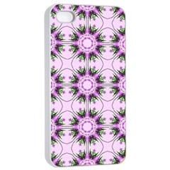 Pretty Pink Floral Purple Seamless Wallpaper Background Apple Iphone 4/4s Seamless Case (white)