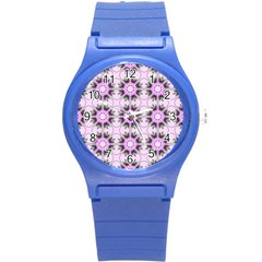Pretty Pink Floral Purple Seamless Wallpaper Background Round Plastic Sport Watch (s) by Nexatart