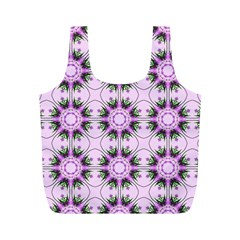 Pretty Pink Floral Purple Seamless Wallpaper Background Full Print Recycle Bags (m)  by Nexatart