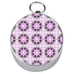 Pretty Pink Floral Purple Seamless Wallpaper Background Silver Compasses by Nexatart