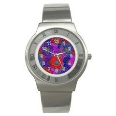 Colorful Background Of Multi Color Floral Pattern Stainless Steel Watch by Nexatart
