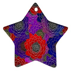 Colorful Background Of Multi Color Floral Pattern Star Ornament (two Sides) by Nexatart