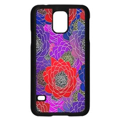 Colorful Background Of Multi Color Floral Pattern Samsung Galaxy S5 Case (black) by Nexatart