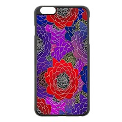 Colorful Background Of Multi Color Floral Pattern Apple Iphone 6 Plus/6s Plus Black Enamel Case