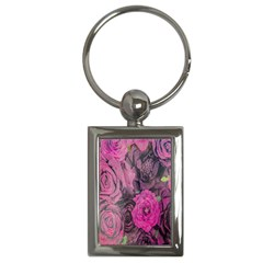 Oil Painting Flowers Background Key Chains (rectangle)  by Nexatart