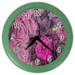 Oil Painting Flowers Background Color Wall Clocks by Nexatart