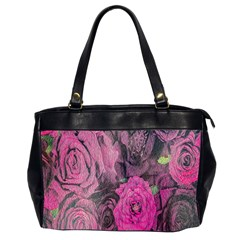 Oil Painting Flowers Background Office Handbags (2 Sides)