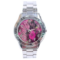 Oil Painting Flowers Background Stainless Steel Analogue Watch by Nexatart