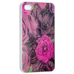 Oil Painting Flowers Background Apple Iphone 4/4s Seamless Case (white) by Nexatart