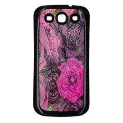 Oil Painting Flowers Background Samsung Galaxy S3 Back Case (black)