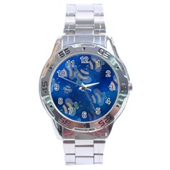 Seamless Bee Tile Cartoon Tilable Design Stainless Steel Analogue Watch by Nexatart